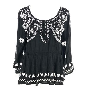 MEADOW RUE Gardiner Henley Embroidered Peasant Top